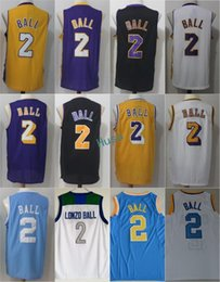 Wholesale Ucla Bruins - 2017 New Men LA 2 Lonzo Ball Jersey UCLA Bruins College Lonzo Ball Jerseys Purple White Yellow Black Throwback Stitched Size S-3XL