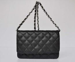 Wholesale Beaded Satin Evening Bag - 33814 WOC Caviar Leather Mini Flap Shoulder Bag Women Single Chain Cowhide Messenger Bag Evening Bag 20CM 33814