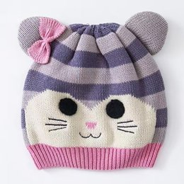 Wholesale Handmade Crochet Earmuff - Wholesale 2016 Little Cat Toddler Hat Cotton Baby Hat Embroidery Crochet Baby Beanies Kids Fall Winter Cap Handmade Windproof Earmuff Ca
