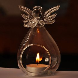 Wholesale Glass Candle Hanging - Romantic Angel Crystal Glass Candle Holder Hanging Tea Light Lantern Candlestick Burner Vase DIY Home Wedding Party Decoration