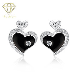 Wholesale Fashion Jewelry Wedding Nickel Free - Nickel Free Earrings Fashion Double Heart Silver Plated Crystal Black Stud Earrings Romantic Wedding Jewelry for Women