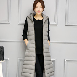 Wholesale Long Hooded Down Vests - New 2016 Autumn Winter Warm Outerwear Long Overcoat Women Fashion Slim Hooded Down Parkas Cotton-padded Coats Sleeveless Vests