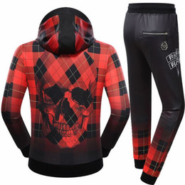 Wholesale Sportswear Jacket Coats Pants - Hot Sale New Man Autumn Hoodie Plaid Skulls Jacket Men Sportswear Clothes Coats Long Sleeve Sweatshirt Pants 2 Piece Sets Tracksuit