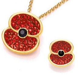 Wholesale 14k Gold Flower Earrings - Latest Alloy Rhinestones Pendant Necklace And Earrings Fashion Red Crystal Pendant Poppy Necklace Earrings Set From China