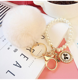 Wholesale Good Quality Keyrings - Keyring Key Ring 2016 New Really Good Quality Rabbit Hair Ball Pearl Phone   Car   Bag Pendant SS0006