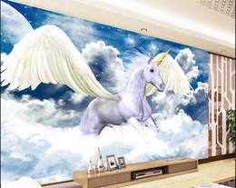 3d fondo de pantalla personalizado foto no tejida etiqueta de la pared mural El ángel unicornio ejecuta pintura imagen 3d pared habitación murales fondo de pantalla desde fabricantes