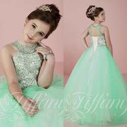 Wholesale Mint Green Organza - 2016 Beautiful Mint Green Girls Pageant Dresses with Beading Rhinestone Halter Tulle Floor Length Kids Ball Gown Prom Dresses
