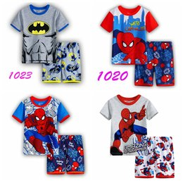 Wholesale Childrens Cartoon Summer Clothes - New arrived Childrens clothing boy girl child cartoon short-sleeve set summer lounge children Pajamas set baby set sleep