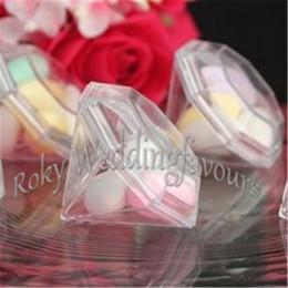 Wholesale Diamond Candy Favor Boxes - FREE SHIPPING 50PCS Clear Acrylic Diamond Favor Boxes Baby Shower Wedding Mariage Reception Decoration Presentes de Casamento
