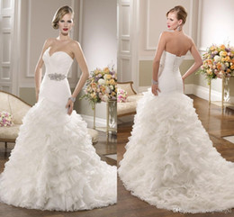 Wholesale Ruched Mermaid Wedding Gowns - 2016 Ronald Joyce Bridal Gowns Sexy Plus Size Mermaid Wedding Dresses Organza Sweetheart Sleeveless Ruched Bodice Beaded Brooch Lace up Back