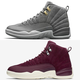 Wholesale Branded Trainers - 2017 New arrival Air Retro 12 Bordeaux Dark Grey Man Basketball Shoes high quality Brand retro 12s Mens sport Trainer Sneakers US 8-13