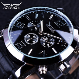 Wholesale Business Display Cases - Jaragar 3 Dial Calendar Display Men Business Series Silver Case Men Watch Top Brand Luxury Genuine Leather Strap Automatic Watch