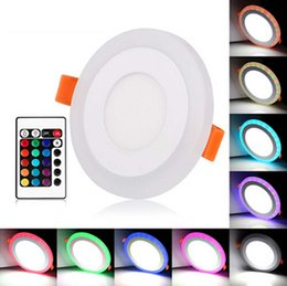Discount led square panels rgb - Round Square LED Panel Downlight 6W 9W 16W Double Color RGB LED Ceiling Recessed Lights Indoor Lighting Bulb With Remote controller
