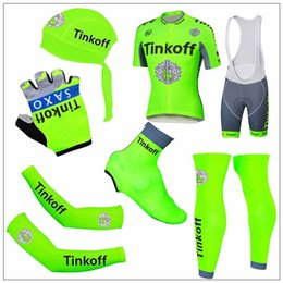 Wholesale Saxo Bank Gloves - 2016 New Tour De France Cycling Jerseys Tinkoff Saxo Bank Green Fluo Bike Wear Arms Legs head Scarf Gloves Shoes Covers Short Sleeve