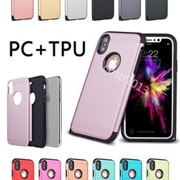 Wholesale Iphone Champagne Gold - Armor Cases Hard PC Soft TPU 2 in 1 Protective Back Cover Cell Phone Case for iPhone X 8 7 6s Plus