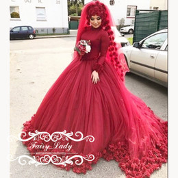 Wholesale Wedding Dress Flower Neck - 2017 Red Puffy Ball Gown Muslim Bridal Wedding Dresses With Hijab Long Sleeves High Neck 3D-Floral Appliques Flowers Kaftan Arabic Women