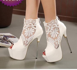 Wholesale Stiletto Heel 16 Cm - Women High heels New style lace Net surface Hollow out 16 cm Ultra high with metal Fine with fish's mouth Women's shoes