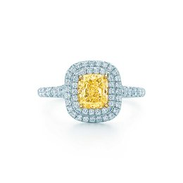 Wholesale White Gold Cushion Diamond Ring - Cushion Jewelry 2CT Sterling Silver Promise White Gold Color Synthetic Yellow Diamonds Ring Women Wedding S925 Romantic Jewelry