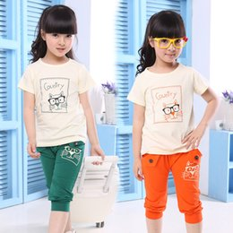 Wholesale Summer Sport Suit For Kids - Wholesale- girls clothing sets Summer style Cotton sports suit for girls 2016 New kids clothes Short Sleeve T-shirt & sports pants 2 pcs