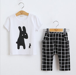 Wholesale White Coat Suit For Boys - Baby Girls Summer Casual Clothes Set Children Short Sleeve Cartoon T-shirt+7points pants Sport Suits 2016 Girl Boy Clothing Sets for Kids