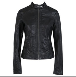 Wholesale Black Leather Bomber Jackets - Spring New British Style Casual Fashion Plus Size XS-3XL Female Motorcycle Slim Leather Jacket Chaqueta Bomber Mujer for Women Women leather