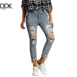 Wholesale Distressed Women Jeans - Wholesale-Women Summer Trousers 2016 Ladies Casual Blue Zipper Fly Mid Waist Ripped Distressed Skinny Ankle Length Jeans Pants
