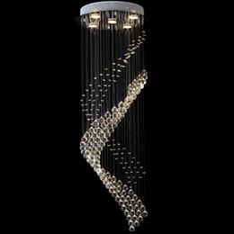 Wholesale Foyer Lighting Semi Flush - VALLKIN Modern Luster Crystal Chandeliers Lighting Fitting Staircase LED Pendant Lights Lamp For Foyer Dining Room Restaurant Deco VALLKIN