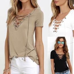 Wholesale Neck Tie Shirt - Sexy Hollow out Strappy Front Women Summer Plus Size Lace Up Blouses Causal Short Sleeve Shirt Ladies Slim Tops Blusas Tie up U2