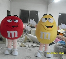 Wholesale Candy Funny - Funny M M Bean Mascot Costume New M&M Chocolate Candy Colors Beans Cartoon Costume Adult Size Birthday party walking cartoon Apparel
