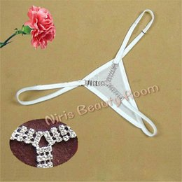 Wholesale Y Back G String Thong - Sexy mini Micro Thongs and G-Strings Women Rhinestone Diamond panties low waist V-string Y strings erotic Lingerie Underwear t back tangas