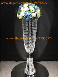 Wholesale Tall Crystal Flower Stands - Silver Or Gold Tall Glamorous Rose Acrylic crystal beaded Wedding Flower stand Centerpiece table decorations