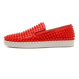 Wholesale Canvas Boat Sneakers - Karmran Mens Fashion Genuine Leather Flats Shoes Full Spikes Slip-on Boat Sneakers Flats Shoes