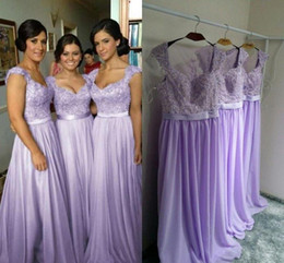 Wholesale White Lilac Wedding Dressed - Hot Selling Purple Lilac Lavender Bridesmaid Dresses Lace Chiffon Maid of Honor Beach Wedding Party Dresses Plus SIZE Evening Dresses