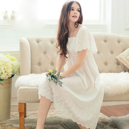 Wholesale Lady Sleeping Shirt - Wholesale-Women's Cotton Nightgowns 2016 Summer Style Vintage Courtly Flower Hollow Out Princess Nightdress Cute Ladies Long Sleep Dress