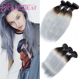 Wholesale Root Hair Color - New Fashion Silver Grey Dark Root Brazilian Virginn Hair Straight 3 Pcs Ombre Grey Hair Weave Straight Hair Brazilian