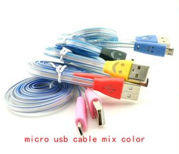 Wholesale smile light - Smile Face led light 1m 3ft micro usb Charger Cable Data Line Sync For all phones V8 Micro Samsung Galaxy