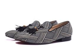 2019 rotes gingham kleid Neuen Männer runde Zehe-rote Unterseite Loafers Luxus Gingham mit Spikes Tassel-Kleid-Schuhe Oxfords-Tropfen-Verschiffen rabatt rotes gingham kleid