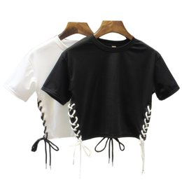 t-shirt en gros t-shirt unique Promotion Vente en gros- Hip Hop femme T-shirta Side Split Bandage Crop Tops Style d'été Unique style Exposed nombril T-shirts femmes t-shirt femme