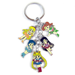 Wholesale Trendy Suits For Women - 2016 sailor suit Sailor Moon keychain key ring Tsukino mini Action figures toys pendants for women zlloy keyring 170397
