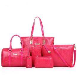 Wholesale Ivory Alligator - Famous Brands Handbag Fashion Crocodile Handbag PU Leather Bag Women Handbags Crossbody Bag Handbag + Messenger Bag + rse +Wallet 6pcs=1sets