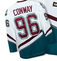 Wholesale Giant Apparel - High quality men shirt # duck 96 movie giant Charlie Conway Hockey Jersey M, L, XL, XXL, 3XL, white and blue sports outdoor apparel