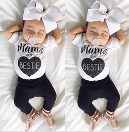 Wholesale Cute Baby Boy Pajamas - 2017 Boys Girls Baby Childrens Clothing Sets mama is my bestie tshirts Pants 2Pcs Set Cute Toddler Home Pajamas Boutique Clothes Outfits