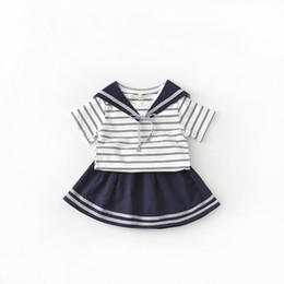 Wholesale Short Skirt College Girl - 2017 summer Children clothing Girls suit College style Naval wind Striped short sleeve & Short skirt 5set lot drop shipping