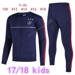 Wholesale Kids Boys Suits - thai quality 2016 2017 ajax Soccer training suit kids size 16 17 HUNTELAAR ZIYECH DOLBERG NOURI KLUIVERT soccer tracksuit shirts