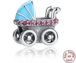 Wholesale Pandora Baby Charms - 925 Sterling Silver Baby Stroller Charm Bead Fit for European Pandora charm Bracelet
