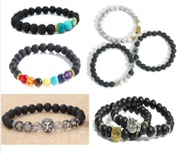 Wholesale Mens Bracelets Lion - New Design Mens Bracelets 8mm Lava Stone Beads With Antique Gold Silver lion Buddha OWL head Charm Bracelets CC781