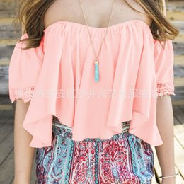 Wholesale White Sleeveless Crop Top - Wholesale- White Black Low Back Peasant Blouse Crop Top Off The Shoulder Ruffled