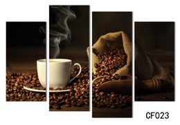 Wholesale Kitchen Framed Pictures - 4 Panels Modern Printed Coffee Canvas Art Painting Picture Cuadros Kitchen Home Decor Wall Art For Living Room Unframed H 014