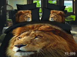 Wholesale King Cotton Comforter - 3D Animal Lion Bedding Sets 6 Pieces Kind Size In Stock Bed Sheet Set Bedclothes Duvet Cover Set New Arrival