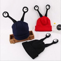 Wholesale knitted baby halloween costumes - Kids Cartoon Hats 2016 Winter Unisex Baby Knitted Woolen Big Eyes Hat Caps Children Insect Beanies Halloween Cosplay Costume
